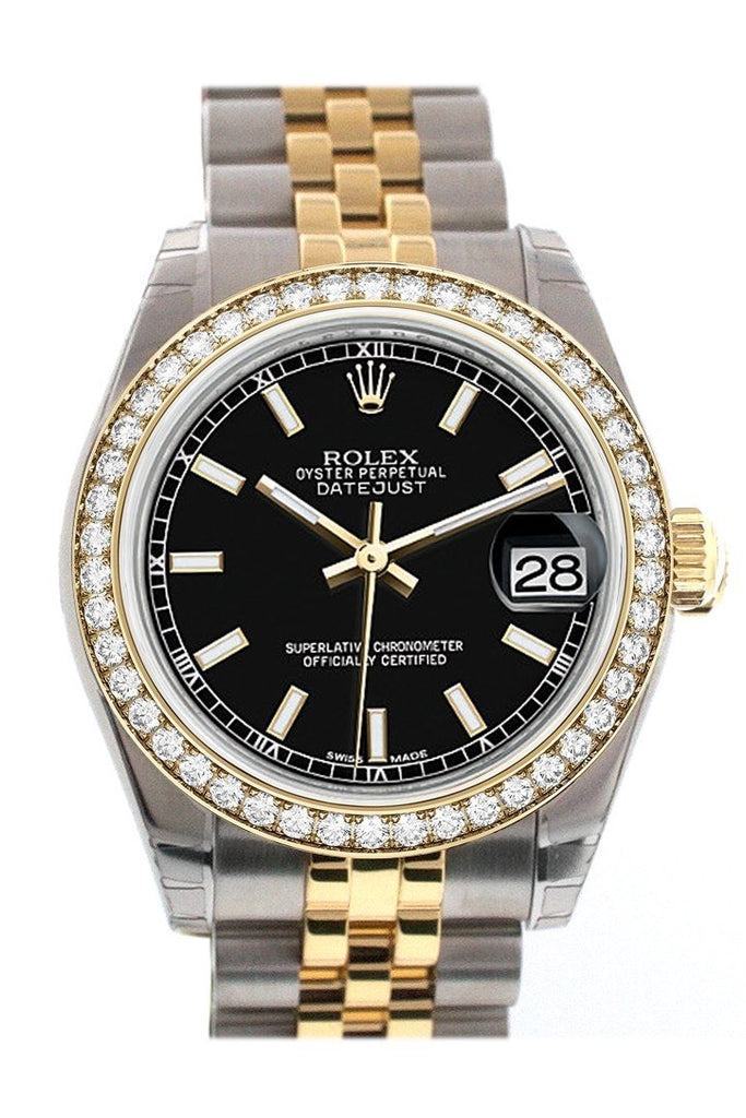 Custom Diamond Bezel Rolex Datejust 31 Black Dial Two Tone 18K Gold Jubilee Ladies Watch 178243