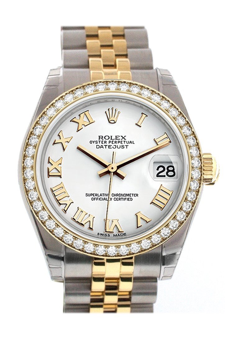 Custom Diamond Bezel Rolex Datejust 31 White Roman Dial Two Tone 18K Gold Jubilee Ladies Watch