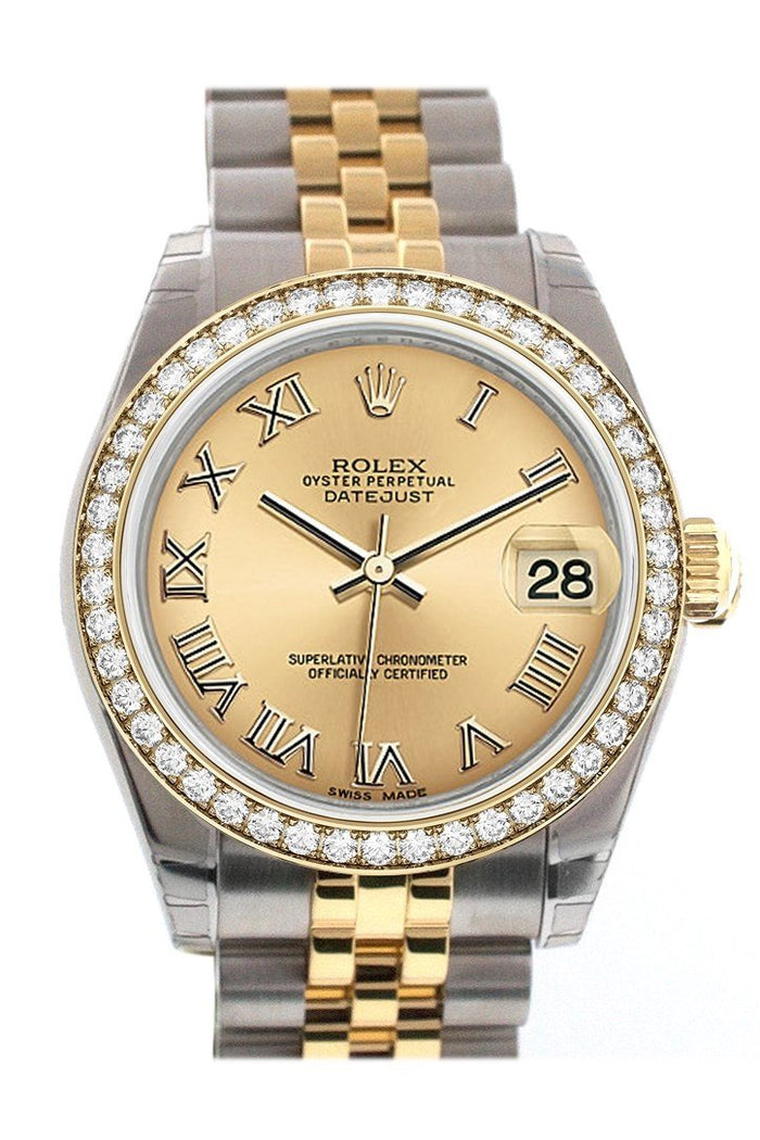 Custom Diamond Bezel Rolex Datejust 31 Champagne Roman Dial Two Tone 18K Gold Jubilee Ladies Watch 178243