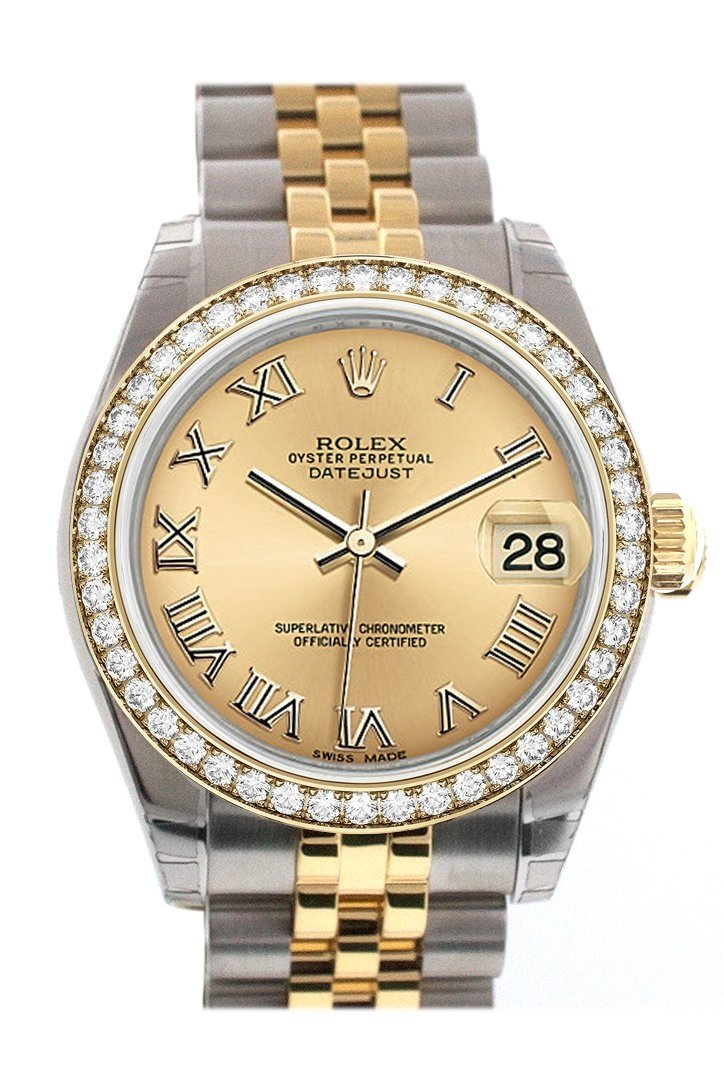 Custom Diamond Bezel Rolex Datejust 31 Champagne Roman Dial Two Tone 18K Gold Jubilee Ladies Watch