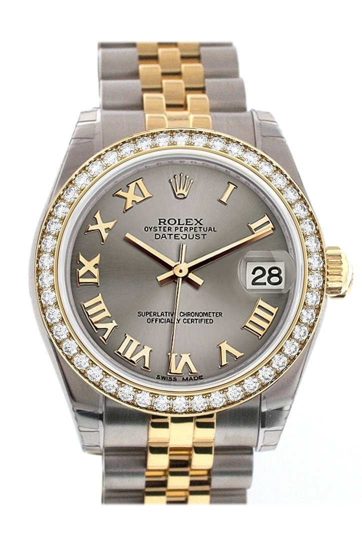 Custom Diamond Bezel Rolex Datejust 31 Steel Roman Dial Two Tone 18K Gold Jubilee Ladies Watch