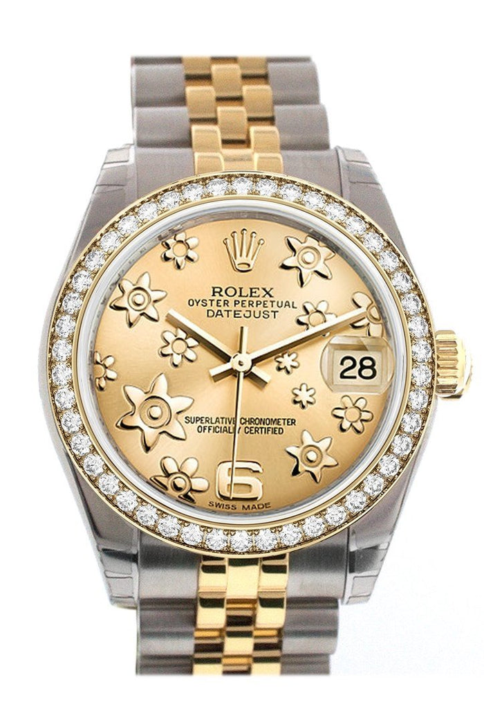 Custom Diamond Bezel Rolex Datejust 31 Champagne Floral Motif Roamn Dial Two Tone 18K Gold Jubilee Ladies Watch 178243