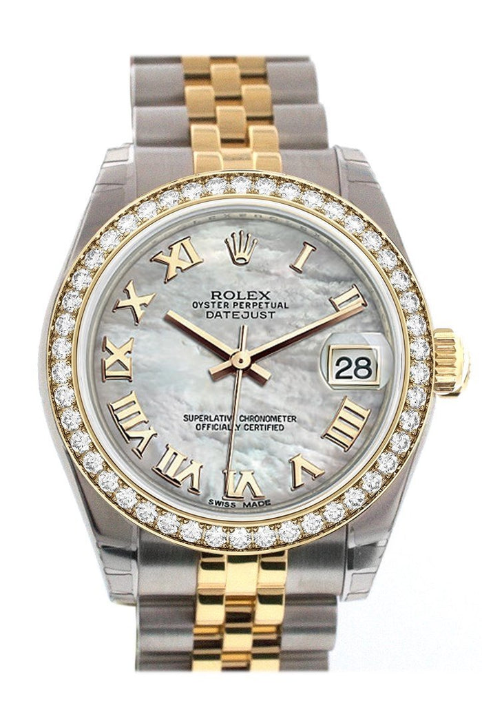 Custom Diamond Bezel Rolex Datejust 31 Mother of Pearl Diamonds Dial Two Tone 18K Gold Jubilee Ladies Watch 178243