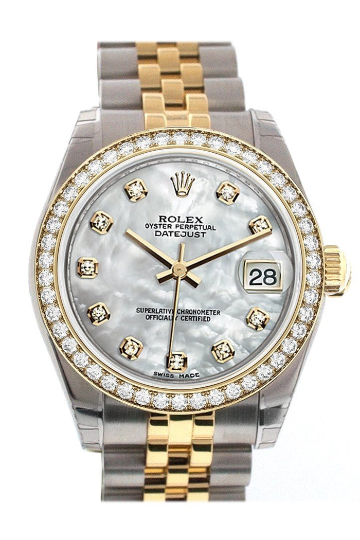 Custom Diamond Bezel Rolex Datejust 31 Mother of Pearl Diamond Dial Two Tone 18K Gold Jubilee Ladies Watch 178243