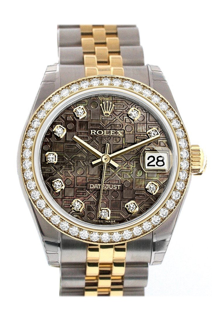 Custom Diamond Bezel Rolex Datejust 31 Black Mother Of Pearl Jubilee Diamonds Dial Two Tone 18K Gold