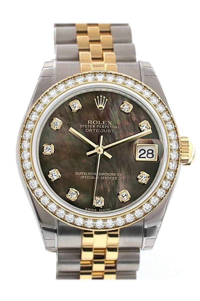 Custom Diamond Bezel Rolex Datejust 31 Black Mother Of Pearl Diamonds Dial 18K Gold Jubilee Watch