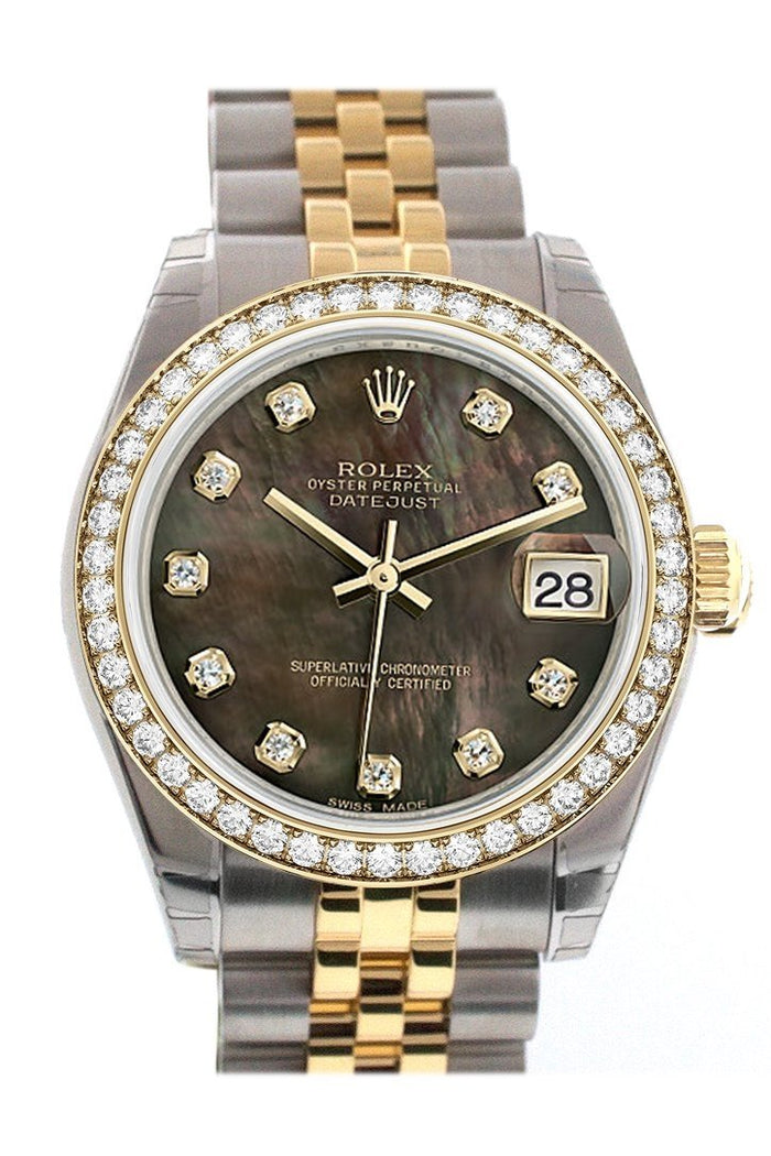 Custom Diamond Bezel Rolex Datejust 31 Black Mother of Pearl Diamonds Dial 18K Gold Jubilee Watch 178243