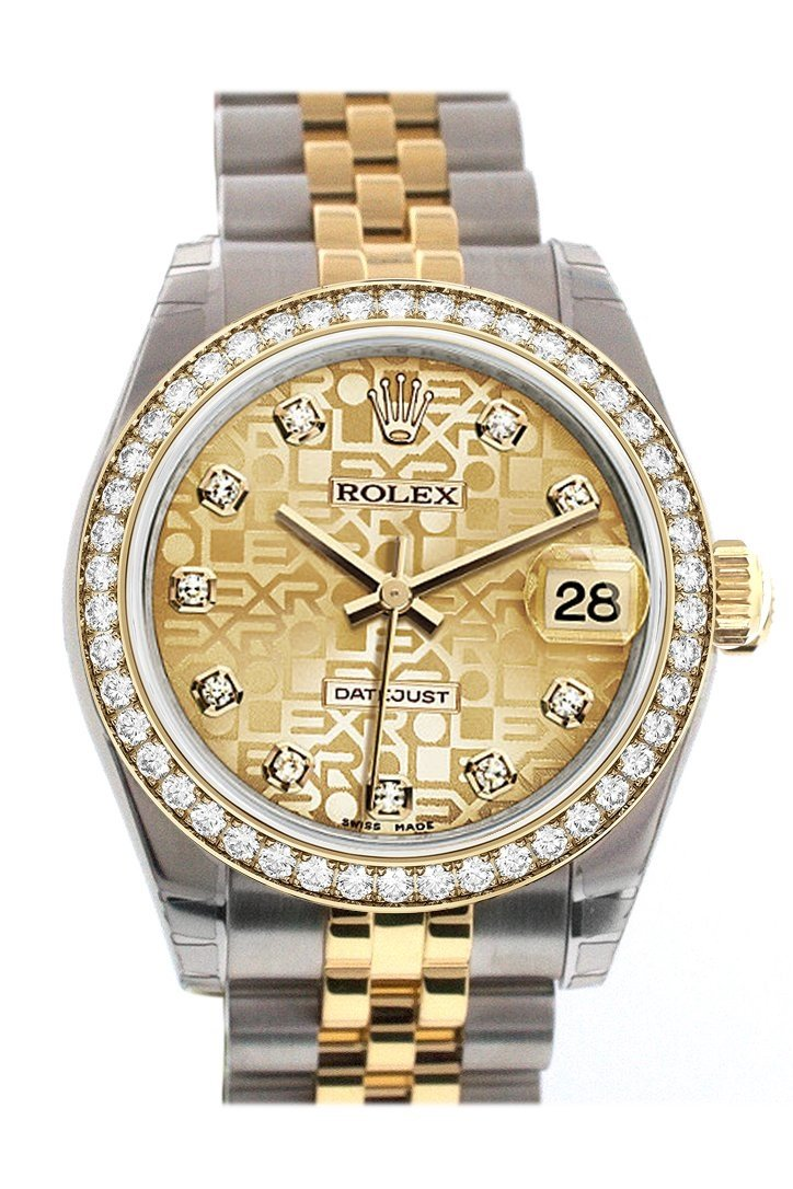 Custom Diamond Bezel Rolex Datejust 31 Champagne Jubilee Dial Two Tone 18K Gold Ladies Watch 178243