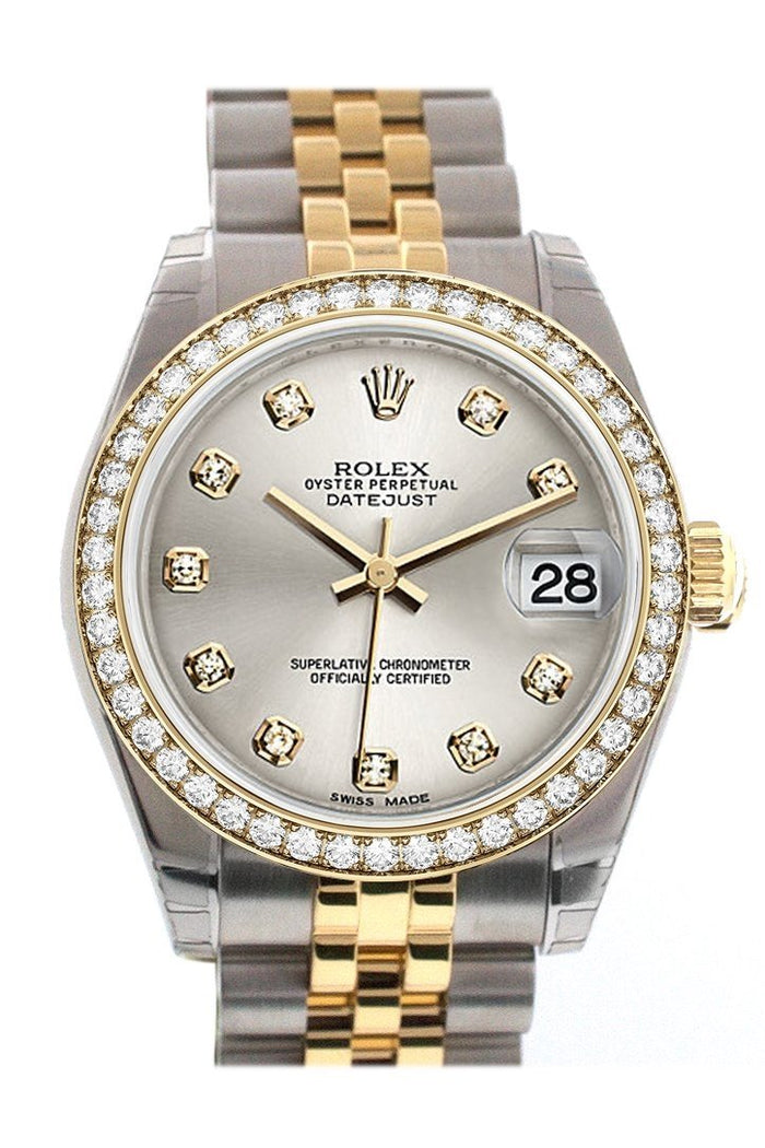 Custom Diamond Bezel Rolex Datejust 31 Silver Diamond Dial Two Tone 18K Gold Jubilee Ladies Watch 178243