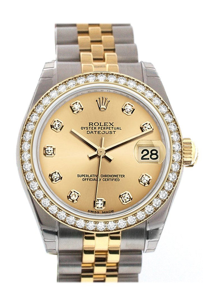 Custom Diamond Bezel Rolex Datejust 31 Champgane Diamond Dial 18K Gold Jubilee Watch 178243