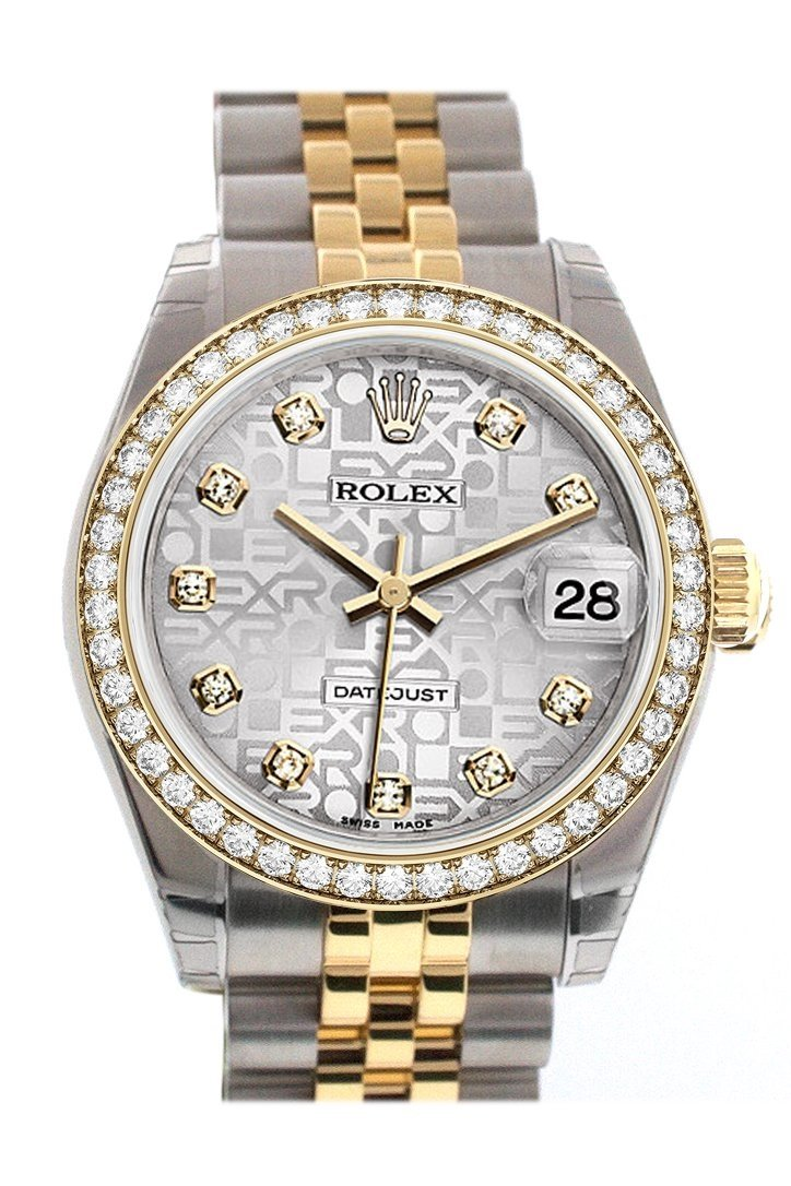 Custom Diamond Bezel Rolex Datejust 31 Silver Dial Two Tone 18K Gold Jubilee Ladies Watch 178243