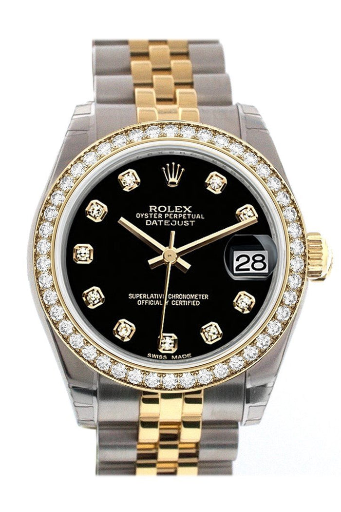 Custom Diamond Bezel Rolex Datejust 31 Black Diamond Dial Two Tone 18K Gold Jubilee Ladies Watch 178243