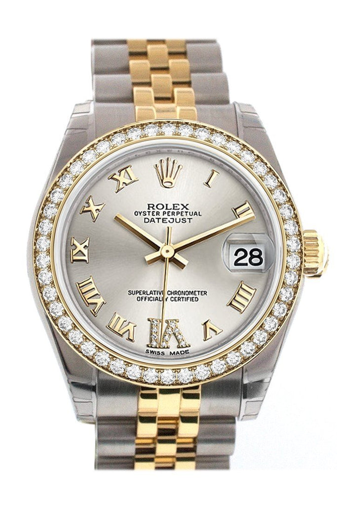 Custom Diamond Bezel Rolex Datejust 31 Silver Roman Large Vi Dial Two Tone 18K Gold Jubilee Ladies