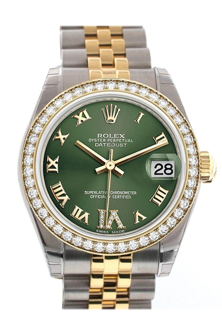 Custom Diamond Bezel Rolex Datejust 31 Olive Green Set With Dial Ladies 178243 Custom-Bezel
