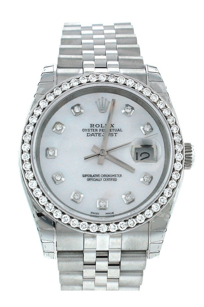Rolex Custom Datejust 36 Mother of Pearl Diamond Dial Diamond Bezel Men's Watch 116200