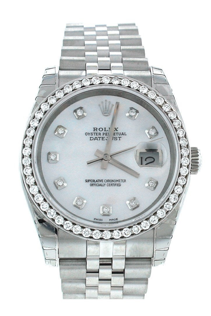 Rolex Custom Datejust 36 Mother Of Pearl Diamond Dial Bezel Mens Watch 116200 / None Watches