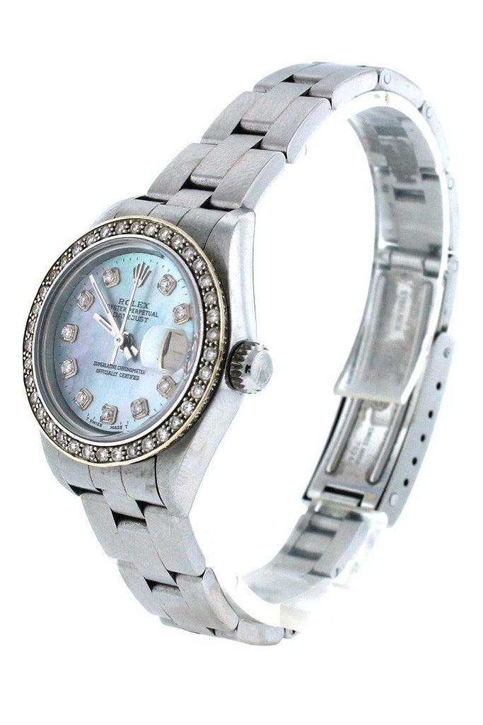 Rolex Custom Datejust 26 Blue Mother of Pearl Diamond Dial Diamond Bezel Men's Watch 179160