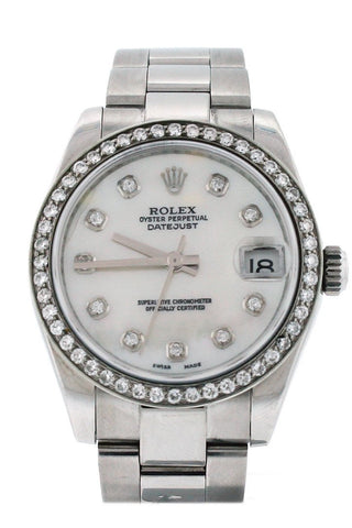 Rolex Custom Datejust 31 Mother of Pearl Diamond Dial Diamond Bezel Men's Watch 178240