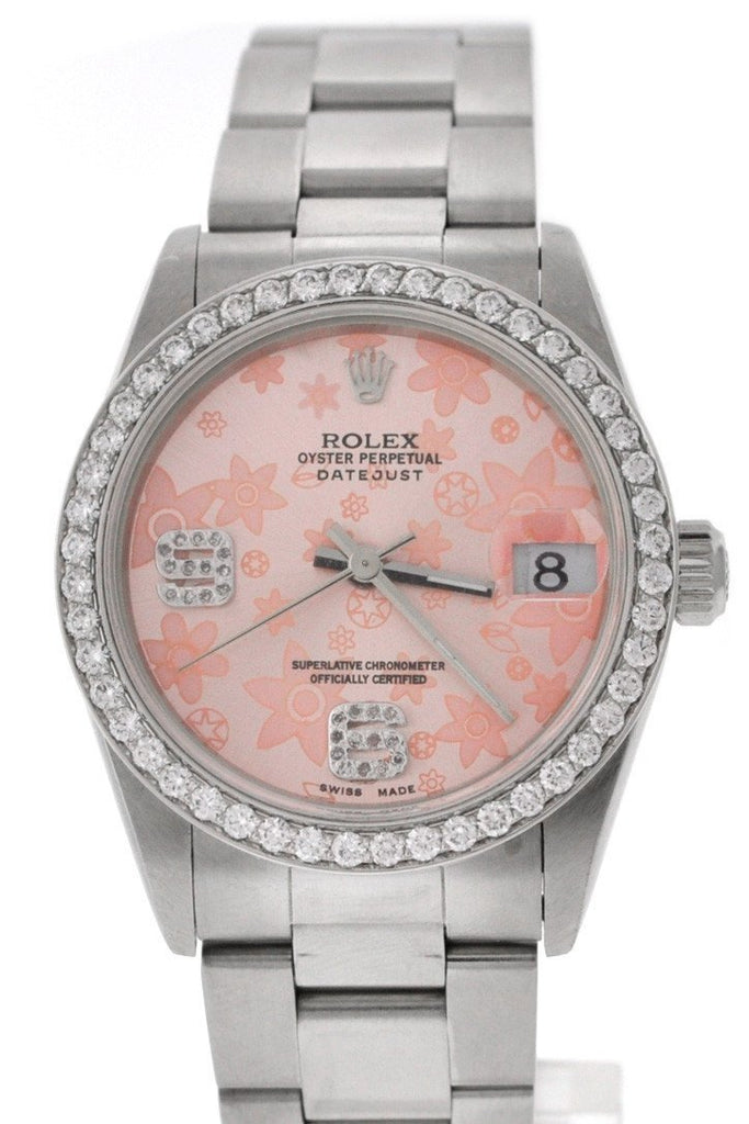 Rolex Custom Diamond Dial Bezel Datejust 31 Ladies Pre Owned a| WatchGuyNYC