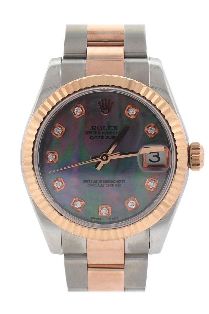 Rolex Custom Diamond Dial Datejust 31 Pearl Rose Gold Two Tone Ladies Watch 178271 / None Watches