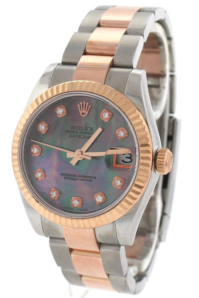 Rolex Custom Diamond Dial Datejust 31 Pearl Dial Rose Gold Two Tone Ladies Watch 178271