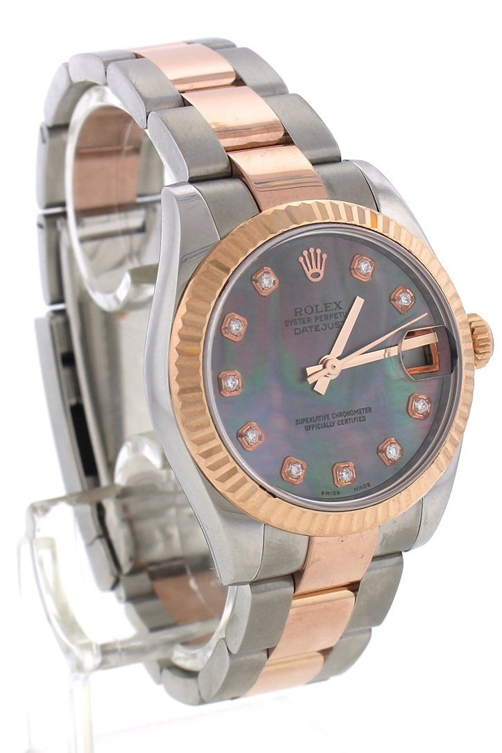 Rolex Custom Diamond Dial Datejust 31 Pearl Rose Gold Two Tone Ladies Watch 178271 Watches