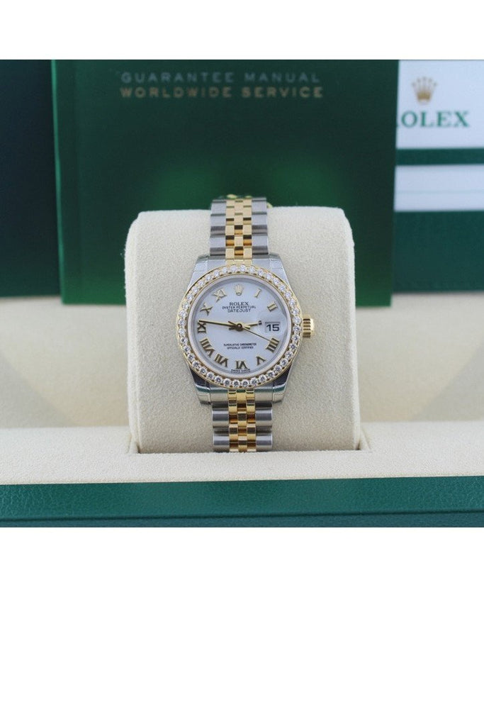 Rolex 179173 Datejust 26 White Roman Dial Diamond Bezel Ladies | WatchGuyNYC