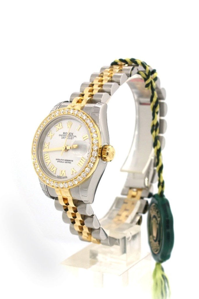 Rolex Custom 179173 Datejust 26 White Roman Dial Diamond Bezel Ladies | WatchGuyNYC