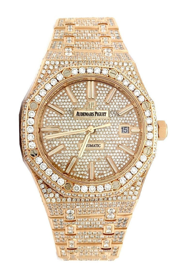 Audemars Piguet Royal Oak 41 With Custom Diamonds Pink Gold Mens Watch 15400Or.oo.1220Or.02 Silver