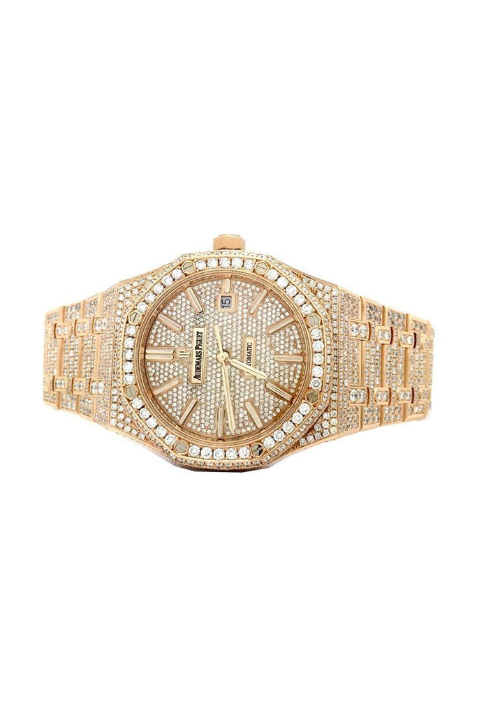 Audemars Piguet 41 with Custom Diamonds Pink Gold Men's Watch | WatchGuyNYC