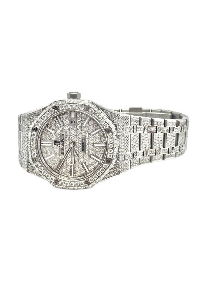 Audemars Piguet 41 Custom Diamonds Steel Men's Watch 15400ST.OO.1220ST.01 | WatchGuyNYC