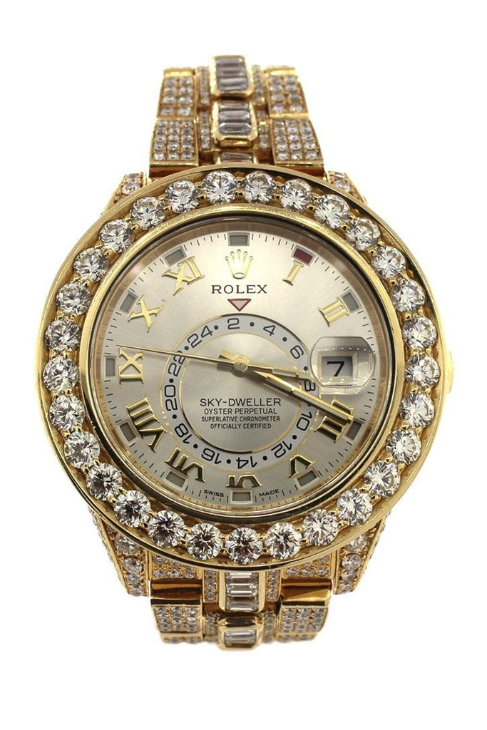 Rolex Custom Diamonds Sky Dweller 42 Silver Dial Gold Mens Watch 326938 / None Watches