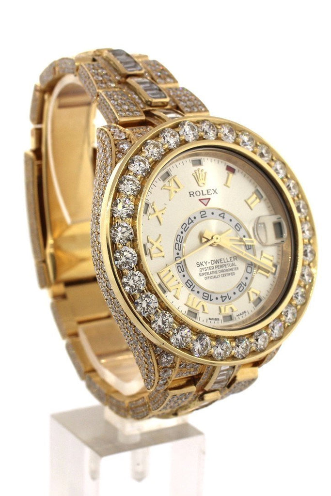 Rolex Custom Diamonds Sky Dweller 42 Silver Dial Gold Mens Watch 326938 Watches