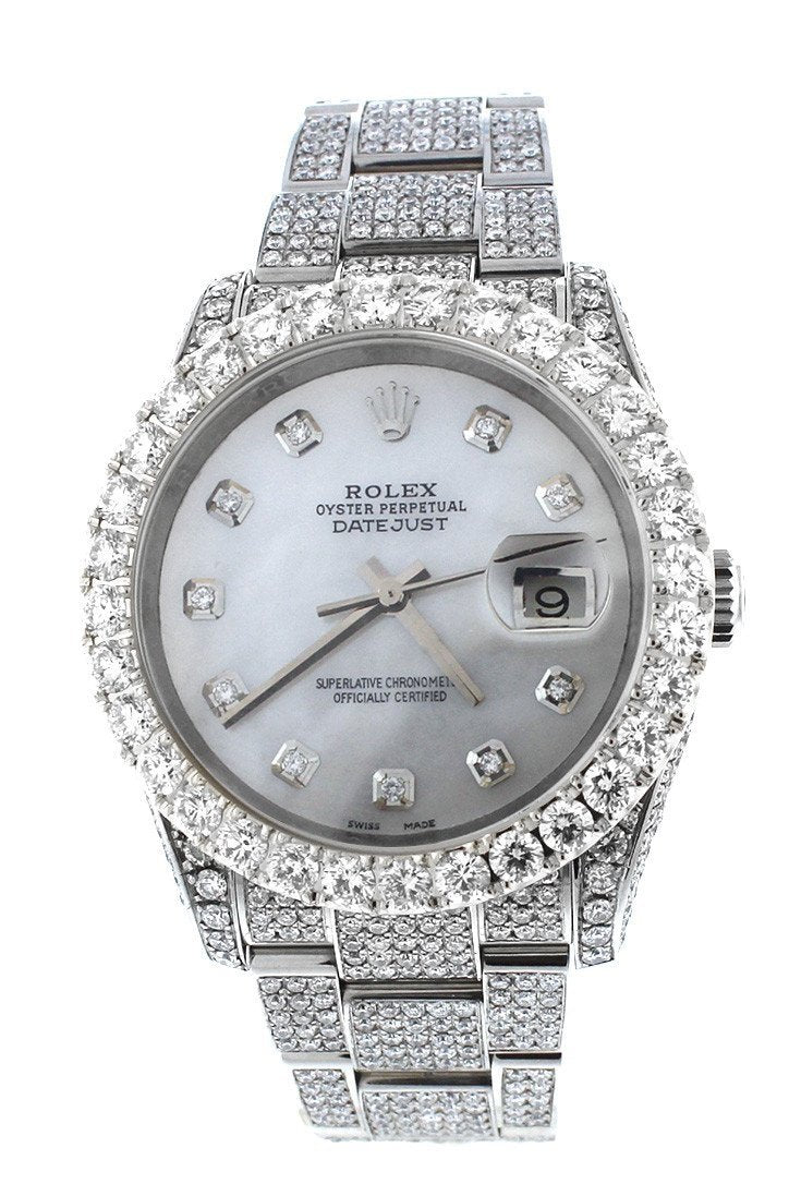 Rolex Datejust 36Mm Custom Diamonds Mens Watch 116200 Pearl / None Watches