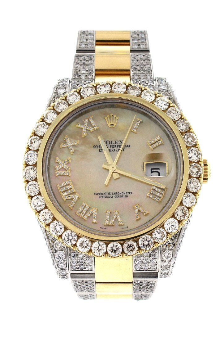 Rolex Datejust Ii 41 Roman Dial Custom Diamonds Mens Watch 116333 Pearl / None Watches
