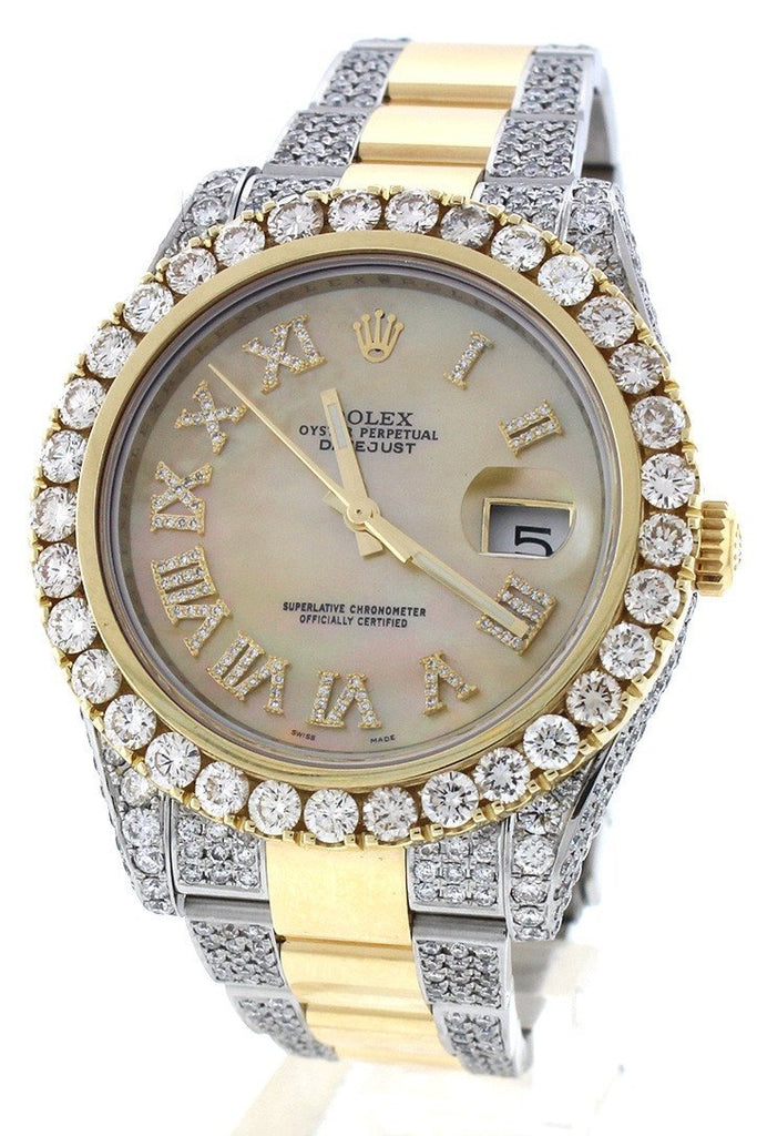 Rolex Datejust Ii 41 Roman Dial Custom Diamonds Mens Watch 116333 Watches