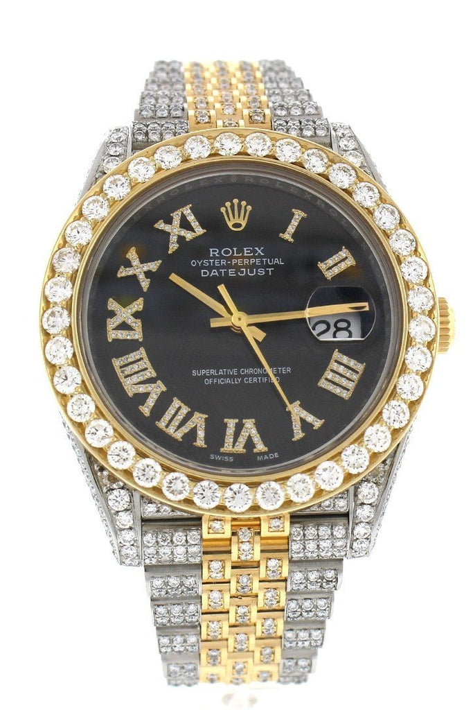 Custom Diamond Rolex Datejust 41 Black Roman Dial Diamond Roman Dial Mens Watch 126333