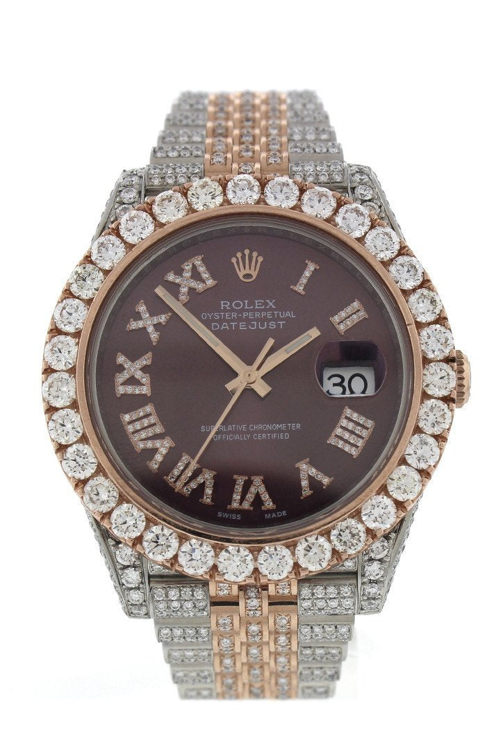 Custom Rolex Diamond 17Ct Datejust 41Mm Rose Gold Oyster Mens Watch 126331 Chocolate / None Watches