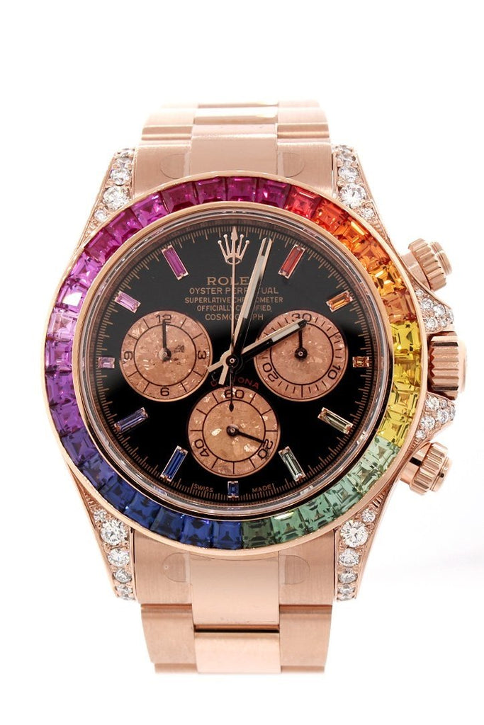Custom Diamond Rolex Cosmograph Daytona Rainbow Colored Baguette Bezel Rose Gold Oyster Mens Watch