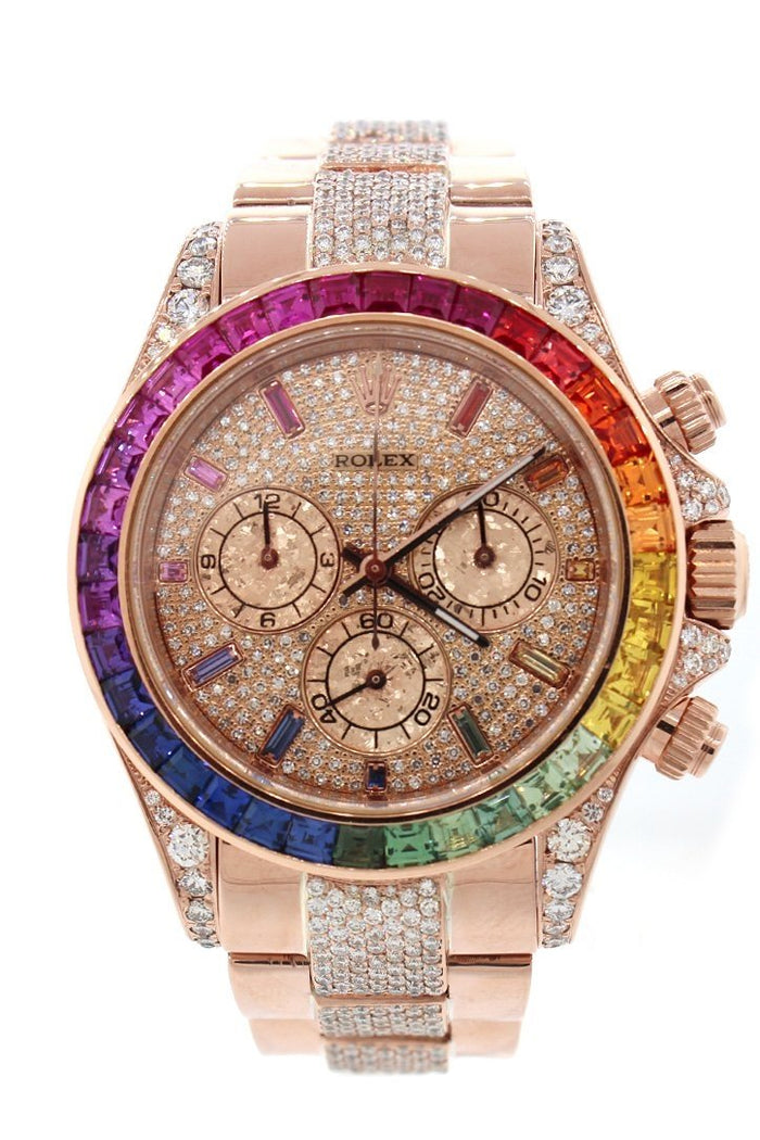 Custom Diamond Rolex Cosmograph Daytona Rainbow colored baguette Bezel Rose Gold Oyster Men's Watch 116505