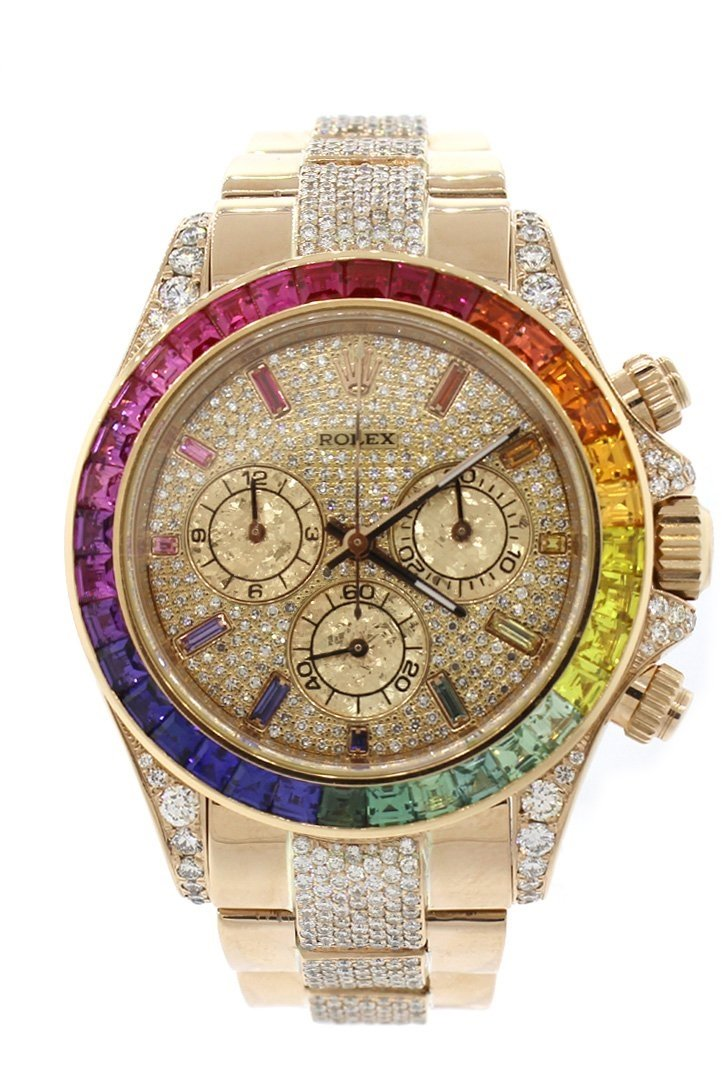 Custom Diamond Rolex Cosmograph Daytona Rainbow Colored Baguette Bezel Yellow Gold Oyster Mens Watch