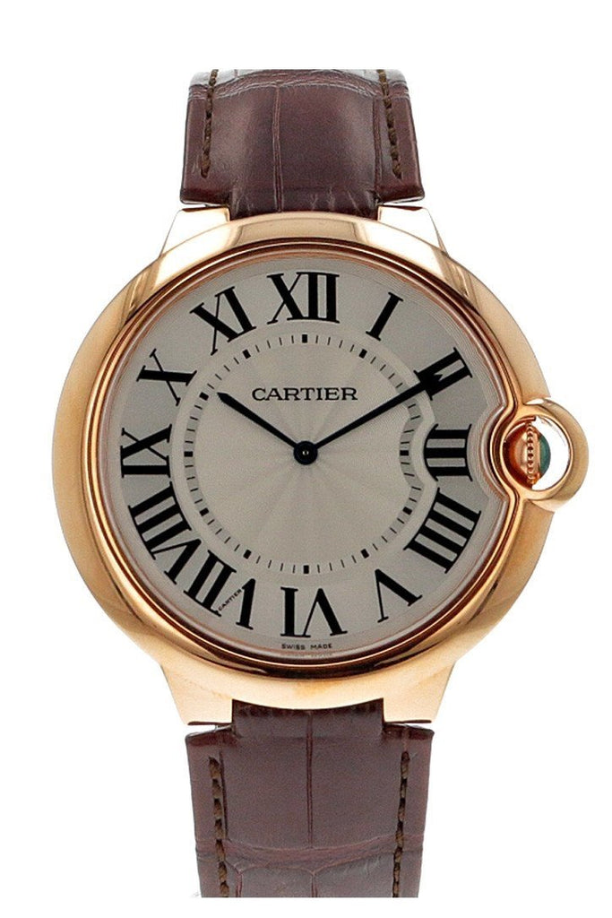 Cartier Ballon Bleu Extra Large Silver Dial 18Kt Rose Gold Leather Mens Watch W6920054 / None