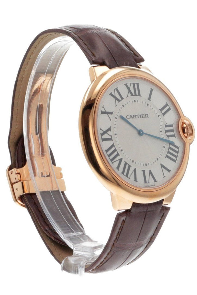 Cartier Ballon Bleu Extra Large Silver Dial 18Kt Rose Gold Leather Mens Watch W6920054