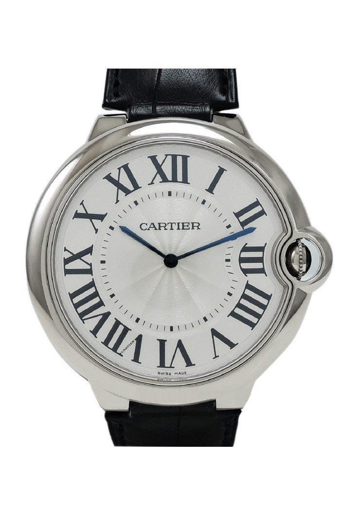 Cartier Ballon Bleu Extra Large Silver Dial Chronograph 18Kt White Gold Automatic Mens Watch