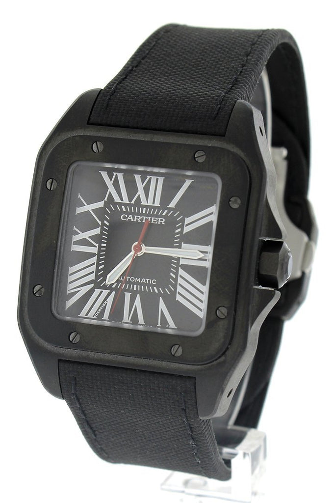 Cartier Santos Automatic Black Dial PVD Mens Watch WSSA0006