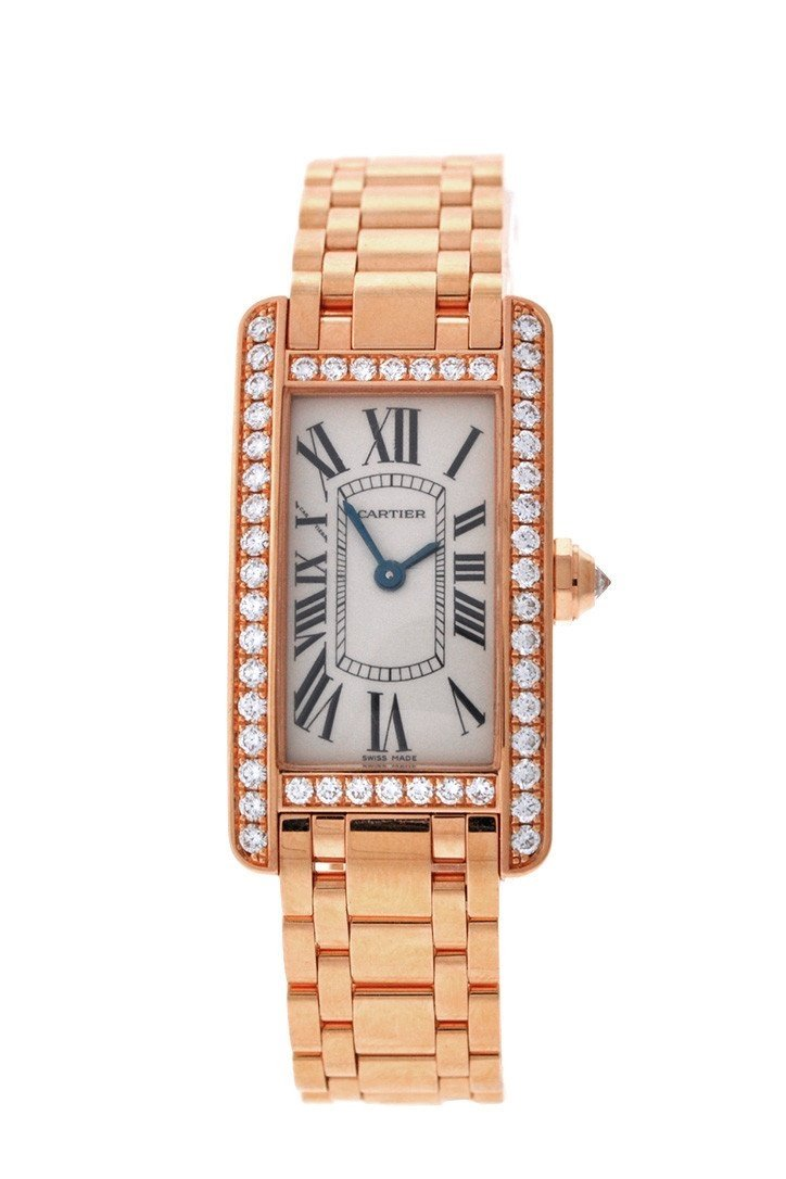 Cartier Tank Americaine Small 18K Pink Gold Case Set With Diamonds Silver Dial Ladies Watches