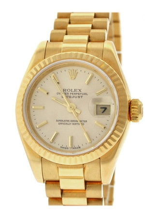 Rolex Lady-Datejust 26 Champagne Dial 18K Yellow Gold President Automatic Ladies Watch 179178 / None