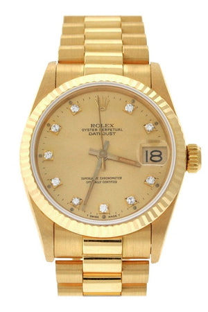 Rolex Lady-Datejust 31 Champagne Dial 18K Yellow Gold President Ladies Watch 178278 / None