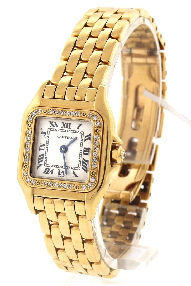 Cartier Panthère De Small 18-Karat Pink Gold Diamond Watch Pre-Owned-Watches