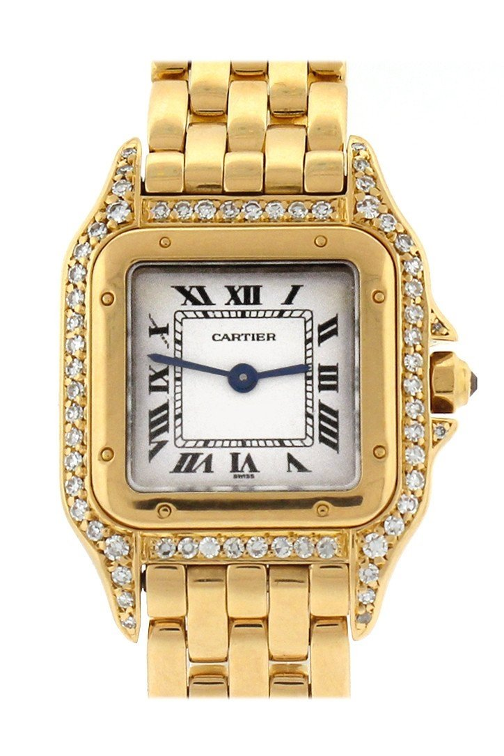 Cartier Panthère De Small 18-Karat Pink Gold Diamond Watch Silver / None Pre-Owned-Watches